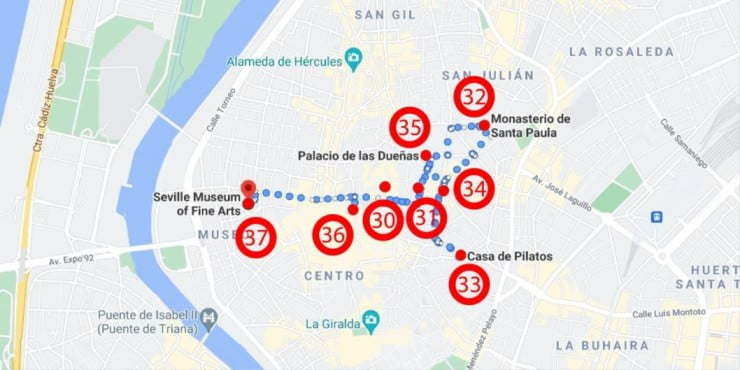 50 things to visit in Seville, Spain - Las Setas' Zone Map