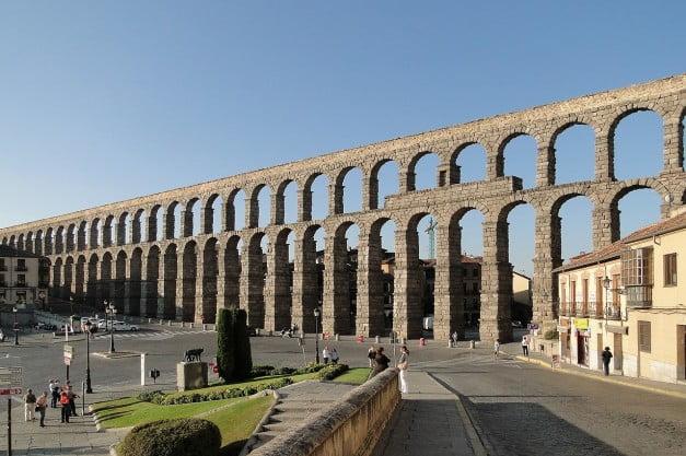 Segovia - Ancient Roman Aqueduct by Bernard Gagnon