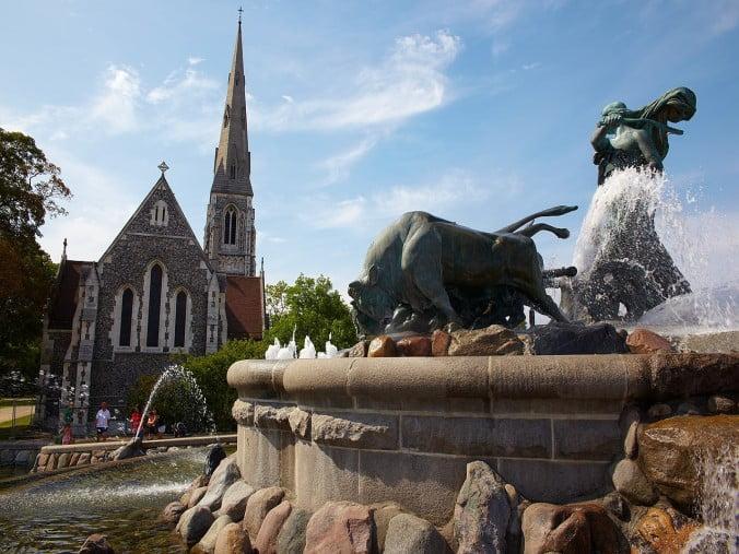 Copenhagen - Gefion Fountain and St Albans Church by Michael Apel
