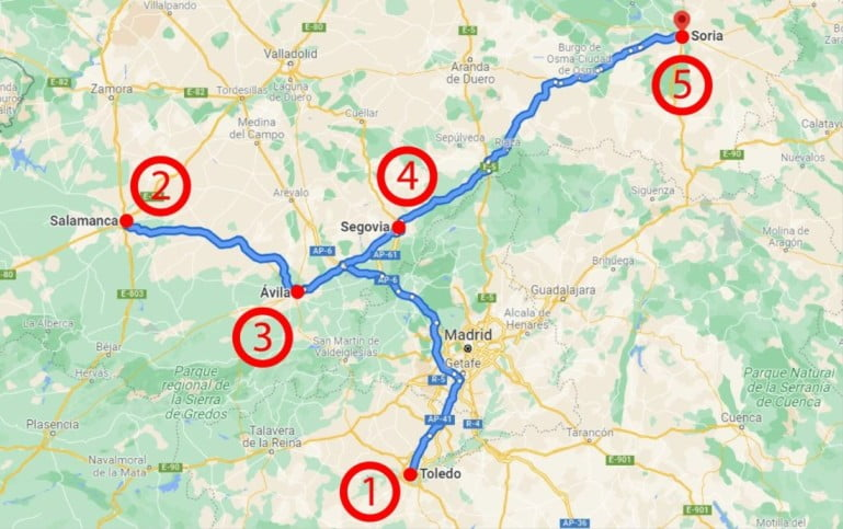 A delightful Spanish Road Trip through the Castiles - Map