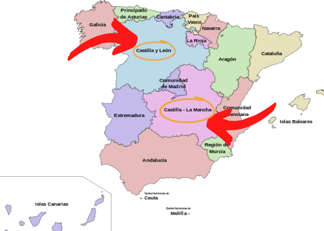A delightful Spanish Road Trip through the Castiles - Map of Spain