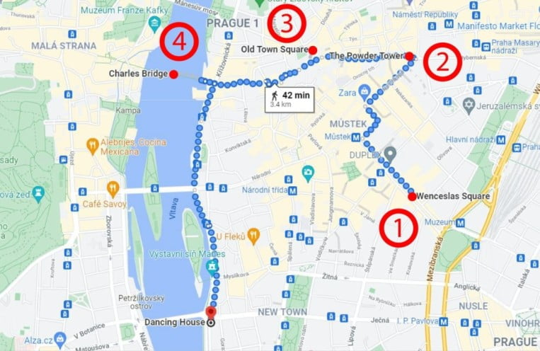 Prague in 3 marvellous days - Map Day 1