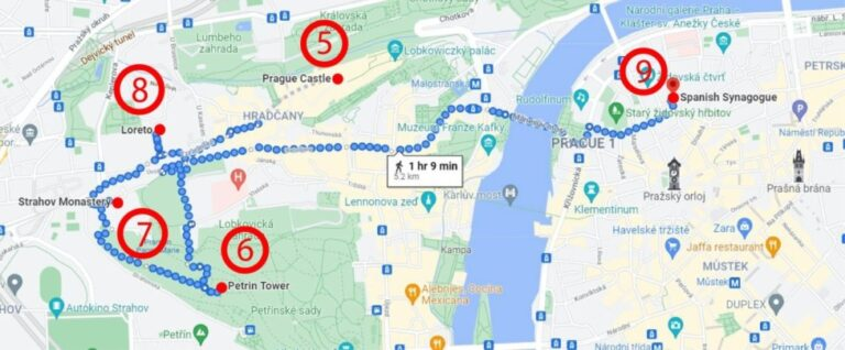 Prague in 3 marvellous days - Map Day 2